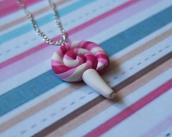 Lollipop Necklace Food Miniature (pink necklace lollipop pendant cute necklace mini food jewelry gift for girl food necklace polymer clay)