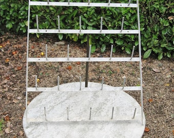 A Nice Old French Wall Mounted Metal 25 Peg  Champagne / Wine Bottle Drying Rack  / Herison / Egoutoir