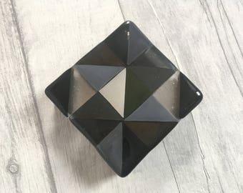 Monochrome Geometric Fused Glass Coasters, Geometric Decor, Monochrome Decor, Black and Silver Decor, Geometric Art, Fused Glass Gift