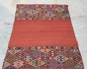 Vintage turkish rugs kilim, old kilim cicim,antique rug,home decor rug,cover table rug,wool rug,original weaving kilim rug, 4'3x3'4 kilim
