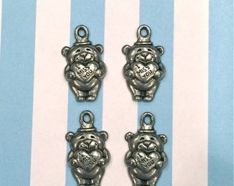 I Miss You Bear - 4 pieces-(Antique Pewter Silver Finish)