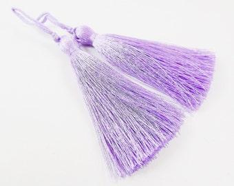 Long Lilac Purple Silk Thread Tassels -  3 inches - 77mm  - 2 pc