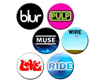 """6 Badge Indie Pack #11 - 6 Single Syllable/Four Letter Words - Six Quality 1.25"""" Indie Band Pin-back Buttons"""