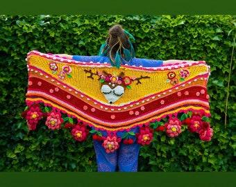 Crocheted Shawl Deer polleviewrap ibizastyle bohemian scarf stole