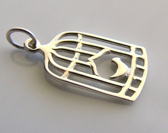 Sterling Silver Bird Cage Charm