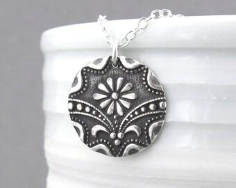 Art Deco Necklace Silver Necklace Pendant Daisy Charm Necklace Silver Pendant Necklace Simple Silver Jewelry Rustic Jewelry Bohemian Jewelry