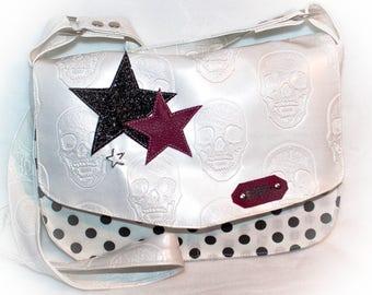 """""""elegance"""" white skull pattern Messenger bag"""