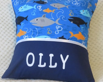 Children's Personalised Character Cushion Cover - Sharks -