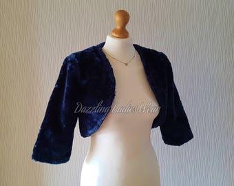 Navy Blue Faux Fur Bolero 3/4 Sleeves / Shrug / Jacket / Shawl / Wrap / Weddings Full Satin Lining - UK 4-26, US 2-24, EUR 32-54