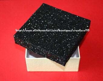 Mini box rhinestone black and vanilla luxury 9 cm square