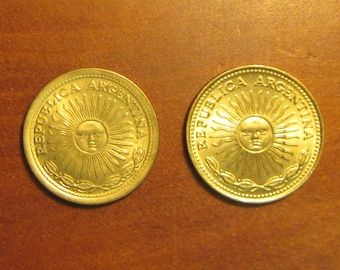 Argentina 1 peso coin s of 1974 and 1976, pair Argentine coins, collecting craft jewelry supply supplies, sun face, sunface