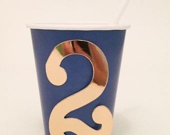 Royal Blue Paper Party Cup with Glitter Number or Monogram - 9 oz cups - Set of 12