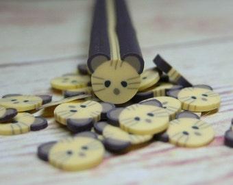 polymer clay cane kitty cat miniature kawaii decoration nail art decoden scrapbooking craft supply