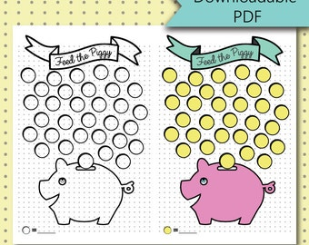 Bullet Journal Stickers - Piggy Bank Savings Tracker Page - Stickers Downloadable PDF - For A5 Size Journal