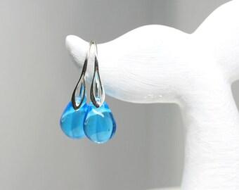 Mermaid earrings Blue drop earrings Mermaid tears jewelry Sterling silver dangle earrings Aqua blue glass jewelry by MayaHoney