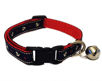 Navy Anchor Cat Collar Breakaway