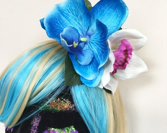 Blue Orchid flower Clip, festival, flower crown, summer hair accessory , fascinator wedding by gingerface