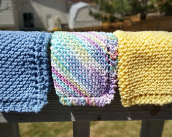 Hand Made, Hand Knit Dishcloths, Dish Cloth, Washcloths, Wash Cloth, Knitted, Cotton, Pink, Blue, Yellow Purple