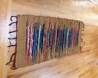 Vintage 1.8x5.6 Feet Brown Washable Dhurrie Rug Runner Rag Runner Boho Wall Hanging, Tapestry Picnic Rug Washable, Reversible Table Runner