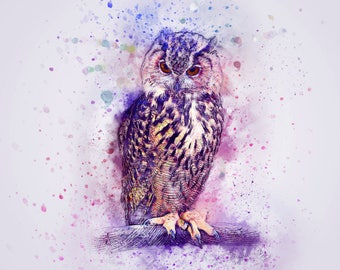 water color colorful owl art print