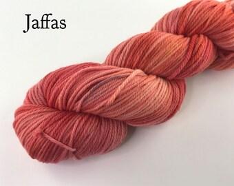 Ethical hand dyed yarn / White Gum Wool yarn / 8 ply yarn / Orange yarn / Soft yarn  / Fancy yarn  / Rust yarn / DK yarn / Organic yarn