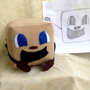 "Tiny Box Tim Plushie! Corduroy Plush Toy. 7"" cube, Pillow. Markiplier Youtuber."