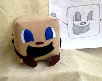 "Tiny Box Tim Plushie! Corduroy Plush Toy. 7"" cube, Pillow. Markiplier Youtuber."