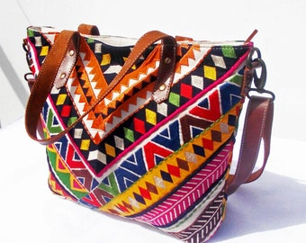 Multicolor tribal tote bag, ethnic,bohemian,12X16 inches