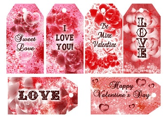 Valentine tags ,red tags, printable tags, instant download, Party Favor Tags, Digital Instant Download, Printable Party Favor Tags,