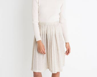 80s Cream Print Pleated Skirt S