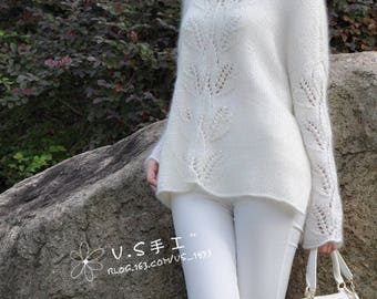 Tunic made of mohair with leaves pattern,white mohair sweater,sweater to order,made to order