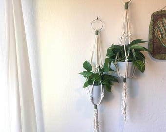 Macrame Plant Hanger 2 / Natural Cotton Rope / Valentine's Day Gift Under 25