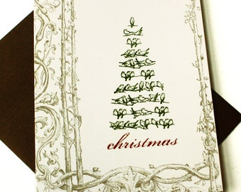 Christmas Cards / Holiday Cards - Vintage Bird Tree - set of 8
