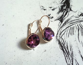 Rose gold tone faceted glass cabochon earrings purple violet shimmering shining
