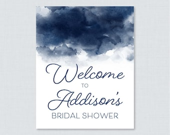 Navy Watercolor Bridal Shower Welcome Sign Printable - Navy Blue Bridal Shower Customizable Sign - Watercolor Bridal Shower Decor 0030-N