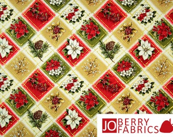 Woodland Christmas Fabric by Fabri-Quilt, Poinsettias and Pine Cones with Metallic Gold, Quilt or Craft Fabric, Fabric by the Yard