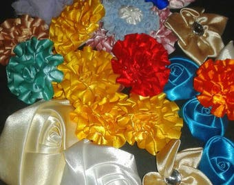 26 Satin Flowers - Crafts, Sewing, Headbands