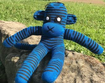 Blue and Black Striped Sock Monkey