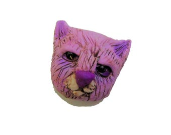 Purple Cat Magnet - Polymer Clay Magnet - Refrigerator Magnet - purple cat Brooch - Kitten jewelry
