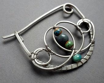 Silver Shawl pin, Scarf pin celtic sweater pin or shawl clasp brown wire wrapped brooch German silver, closure  shawl clasp, fibula