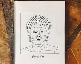"Subpar Bruce Lee Portrait Drawing Print / MMA / Karate / Martial Arts / Legend /Hand-Drawn/TV/Movie/8.5"" x 11""/Thick Card Stock Paper!"