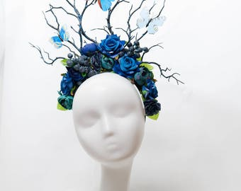 Blueberry and butterfly large fairy flower crown goddess gothic festival forest headdress