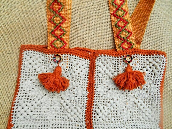Gypsy Bag Hand Crocheted Cotton Lace Purse Caramel Bamboo Yarn Tassel Handmade Hand Painted Wood Buttons  #sophieladydeparis