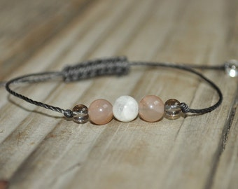 Moonstone Yoga Bracelet, Sunstone, Smoky Quartz, Crystal Healing Bracelet, Meditation Bracelet, Minimalist Jewelry, Good Fortune, Luck