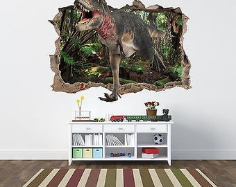 Jurassic park world dinosaur mural smashed wall sticker 3d bedroom boys wall art