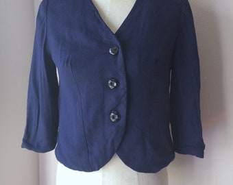 Vintage 1930s Navy Blue Gabardine Wool Jacket
