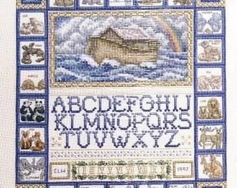 Teresa Wentzler ** Noah's Ark Sampler ** Counted Cross Stitch kit from Janlynn - beautifully detailed Noah's Ark and the animals ABC sampler
