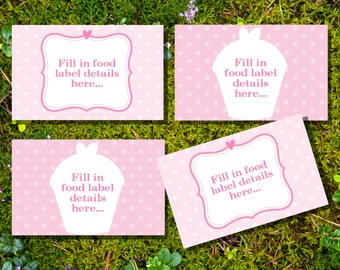 Cupcake Tent Cards, Food Labels, Buffet Cards, Food Tags, Labels - Instantly Downloadable File