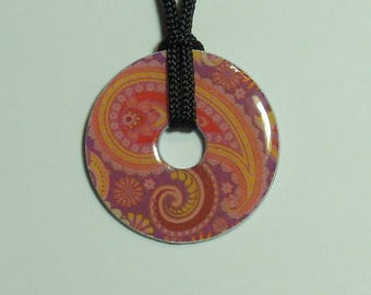 Metal Washer Necklace, Pink Paisley Necklace, Pink and Purple Paisley Necklace, Pink Paisley Pendant, Pink and Purple Paisley Pendant,