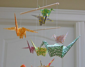 Origami Crane Mobile - Colourful Chiyogami Print Papers - Home Decor